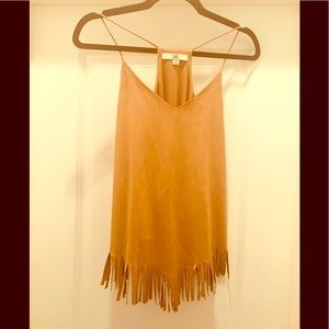 Suede like tank top size small with fringe.